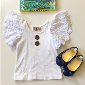 Sado | White Lace Angel Sleeve Top | 2T